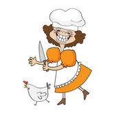 nejlepší kuchař certifikát s legrační cook, který provozuje kuře