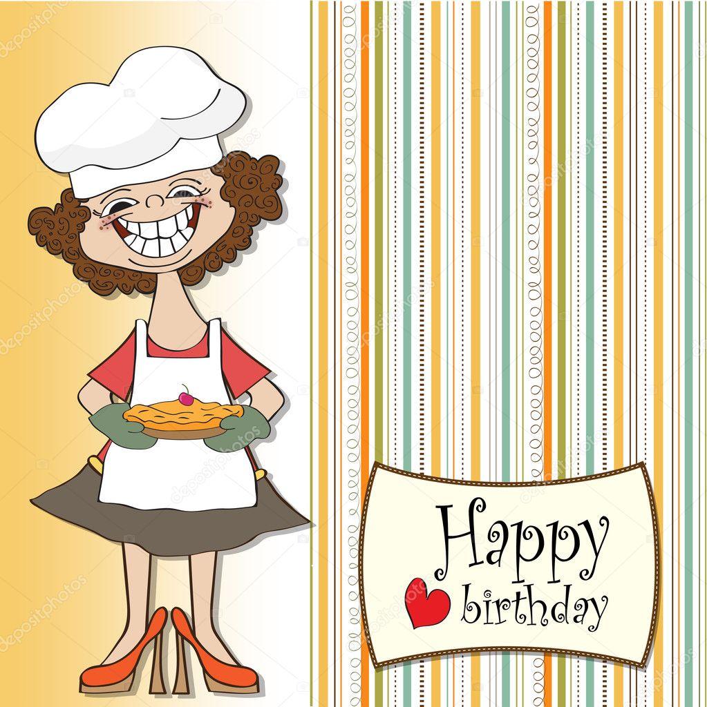 Geburtstag Grusskarte Lustige Frau Mit Kuchen Stockfoto