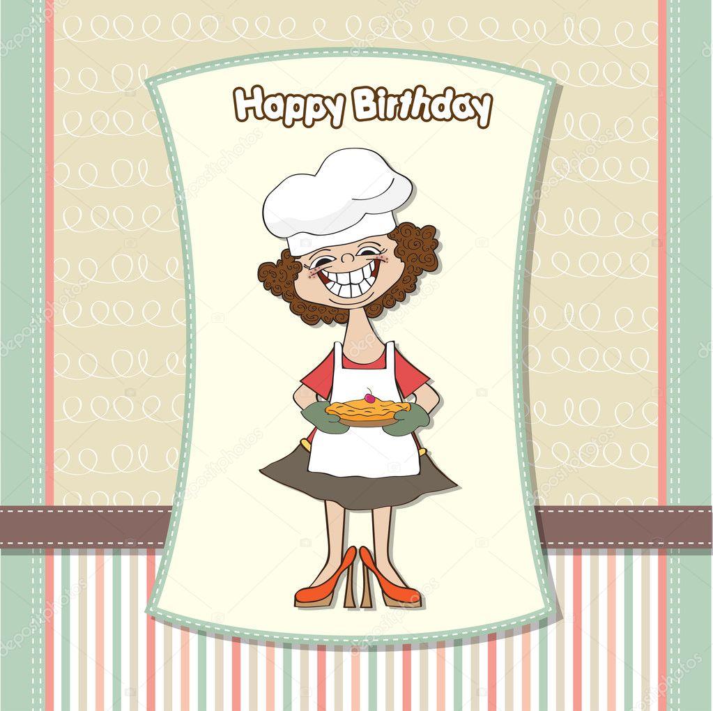 Genoeg verjaardag wenskaarten met grappige vrouw en taart — Stockfoto @LP63