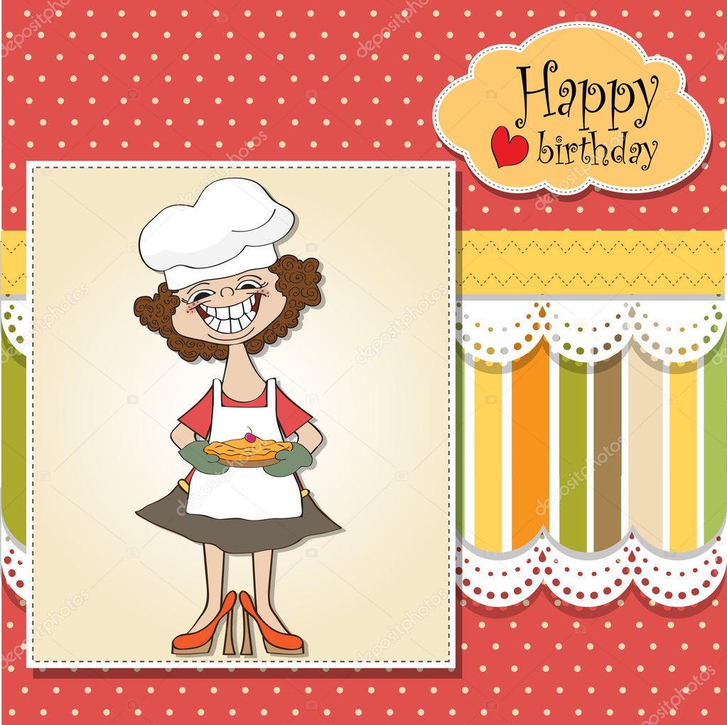 Fabulous verjaardag wenskaarten met grappige vrouw en taart — Stockfoto &FU53