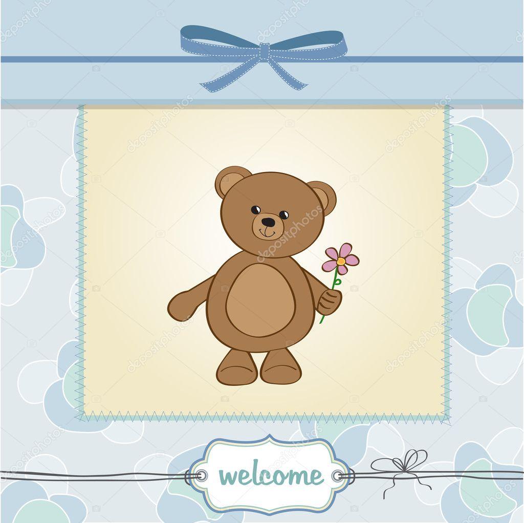 Carte Anniversaire Ourson.Carte Personnalisable Joyeux Anniversaire Ourson Et Fleur