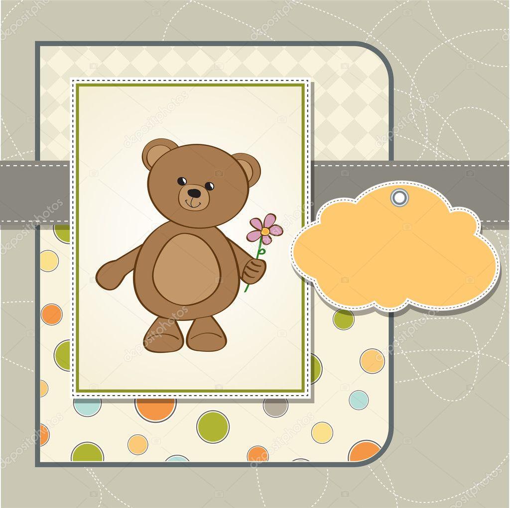 Carte Personnalisable Joyeux Anniversaire Ourson Et Fleur