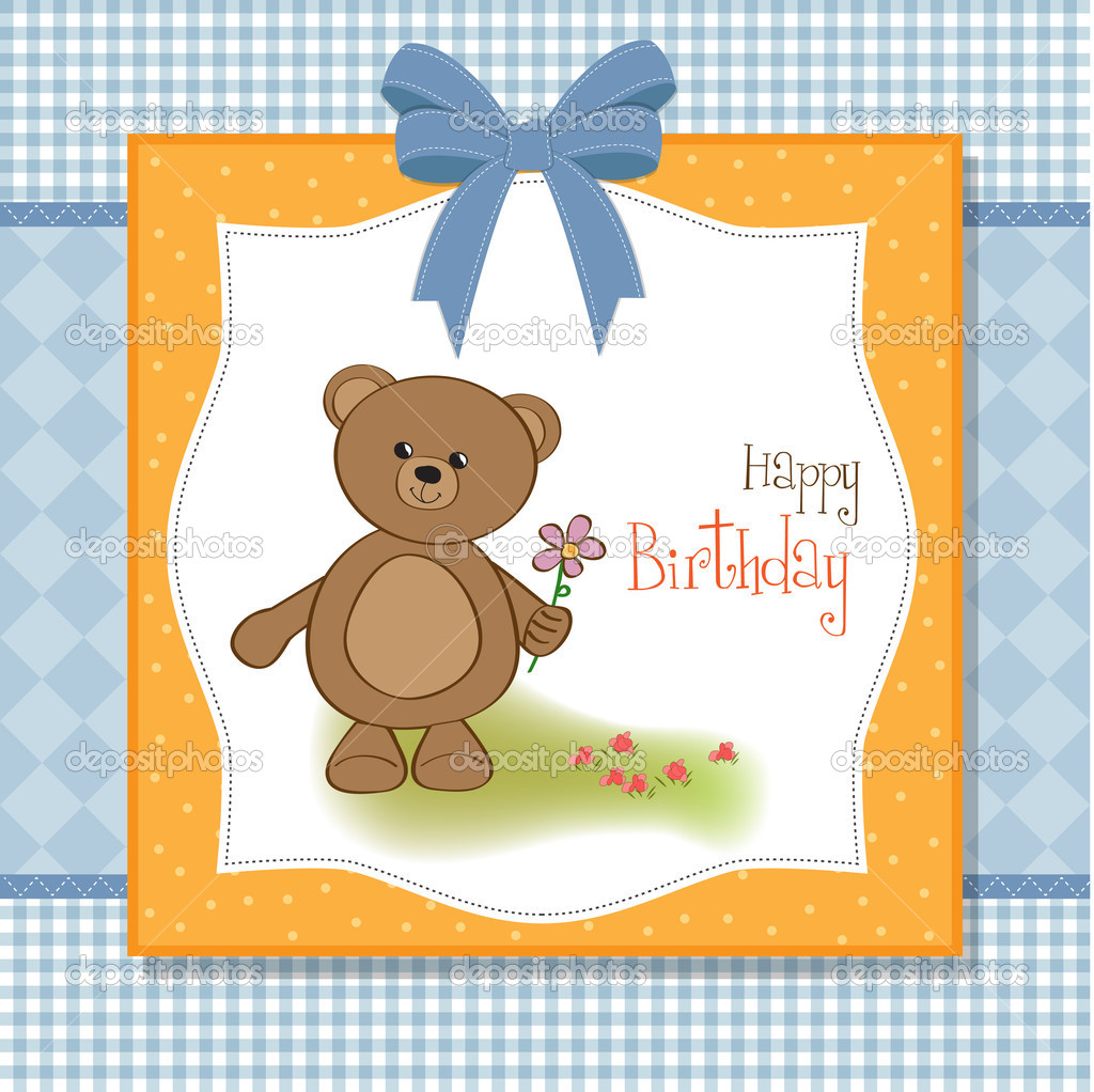 Customizable Happy Birthday Card With Teddy Bear And Flower Stock Photo