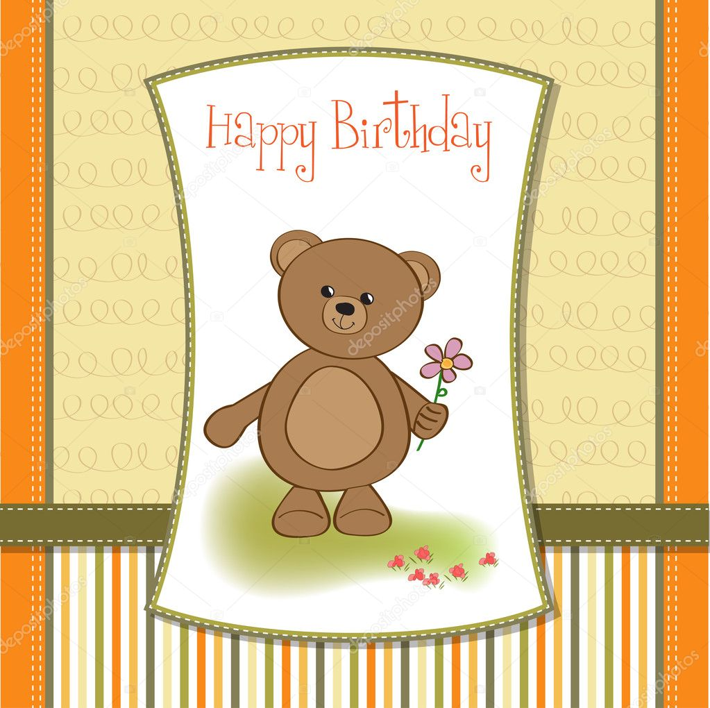 Customizable Happy Birthday Card With Teddy Bear And Flower Stock Image