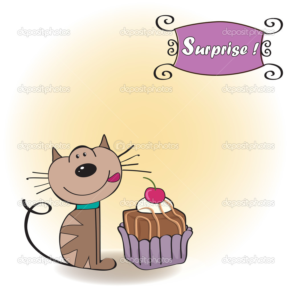 Birthday Greeting Card With A Cat Waiting To Eat A Cake Stock