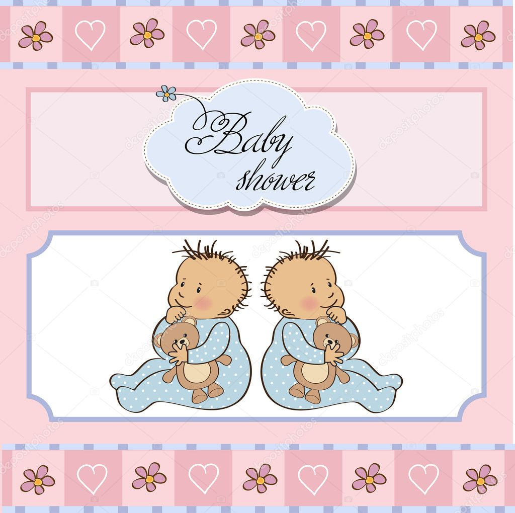Днем, открытка с годиком двойняшкам