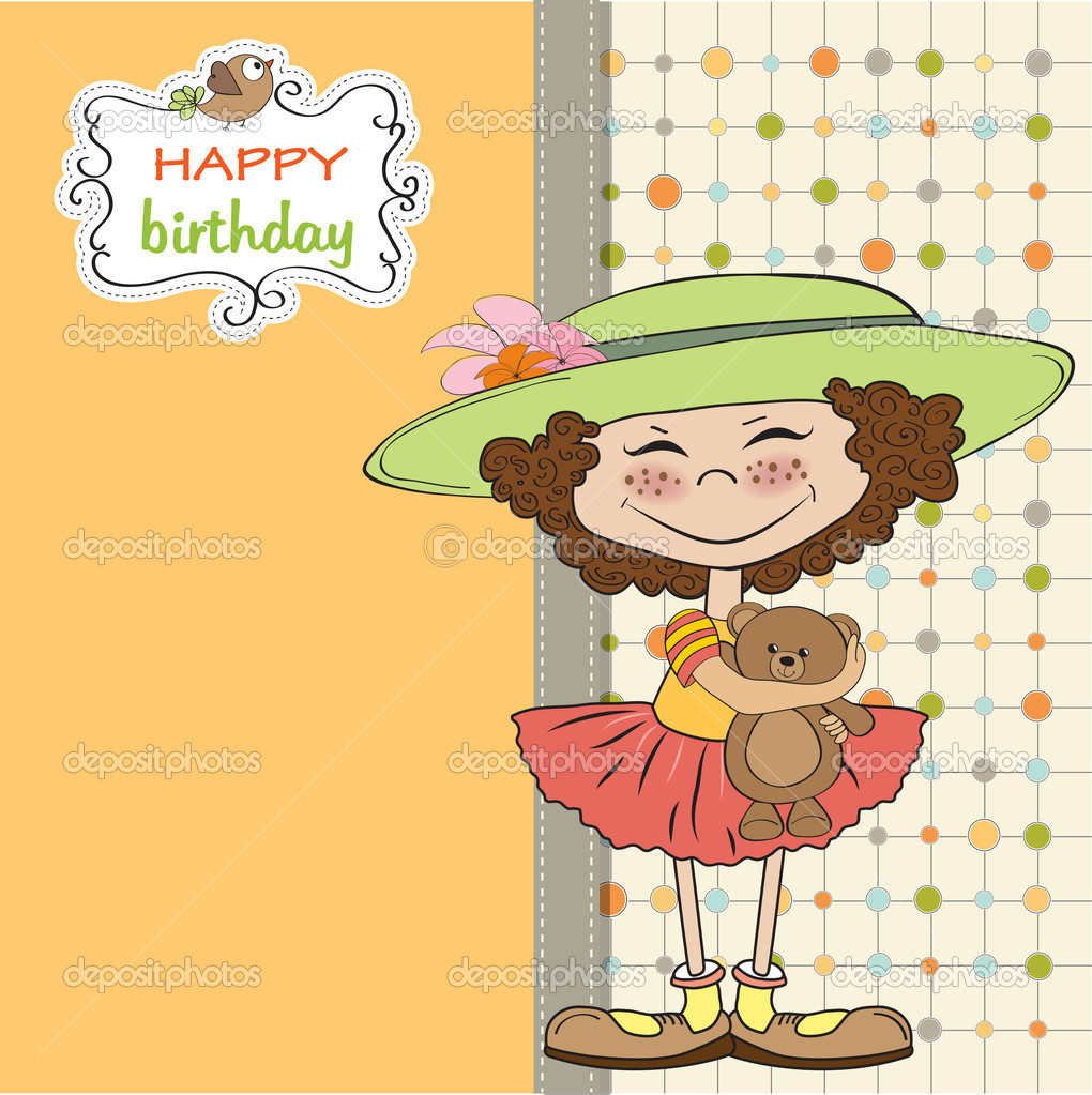 Cute Little Girl Wishing You Happy Birthday Stock Photo