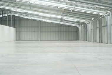 Half of an empty warehouse