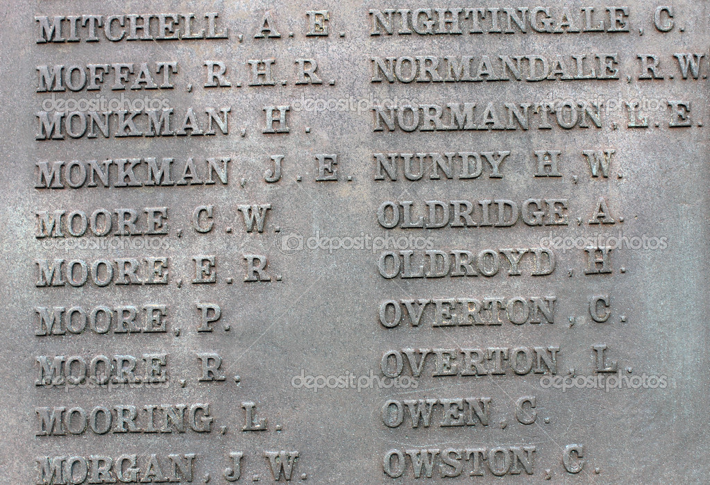 Names on military war memorial — Stock Photo
