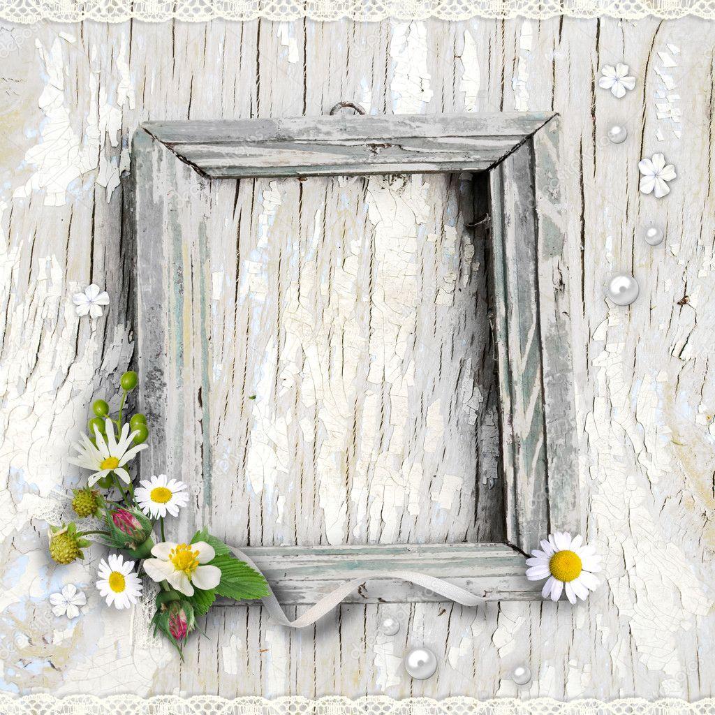 Retro framework with flowers