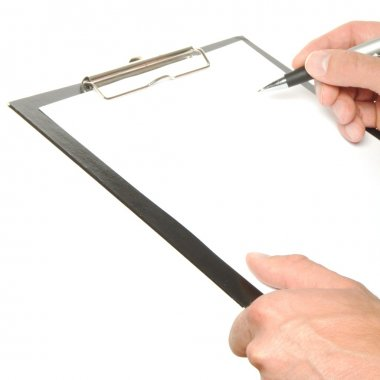 Writing a note on a clipboard