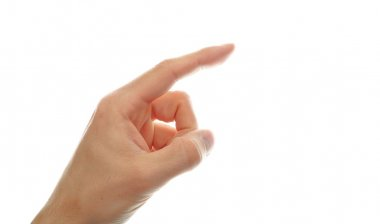 Hand pointing with finger