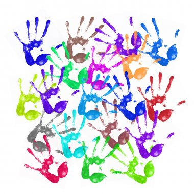 A lot of colorful hand prints on white background stock vector