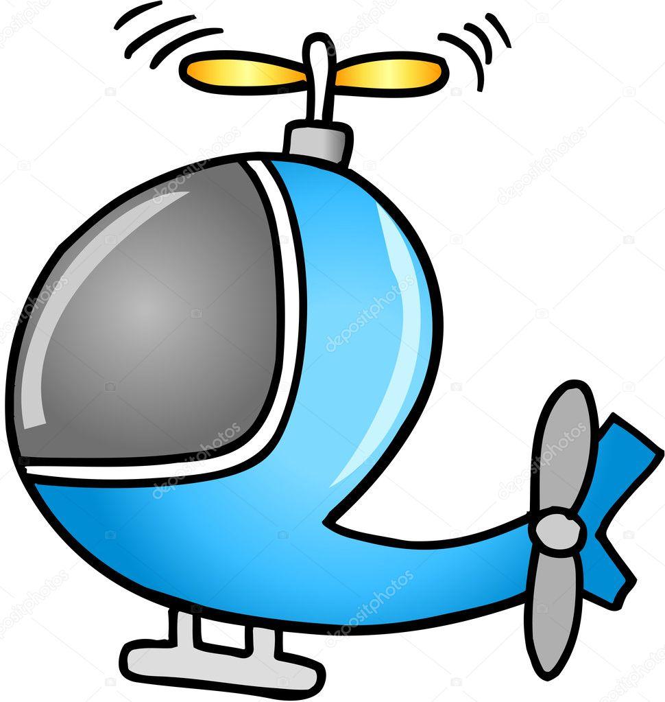 Vettore di elicottero cartone animato carino doodle