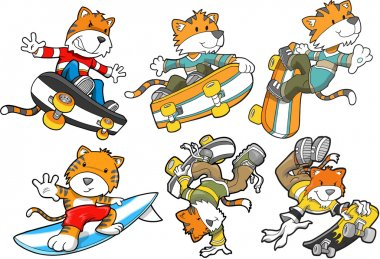 Tiger Sports Skateboard Surf Vector Set