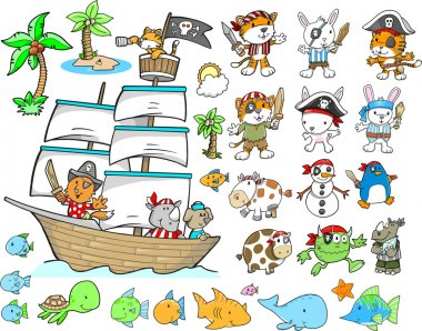 Pirate Animal Ocean Character Design Elements Vector Set