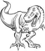Fotografia illustrazione di tirannosauro dinosauro schizzo doodle