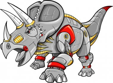 Robot Cyborg Machine Triceratops Dinosaur Vector Illustration