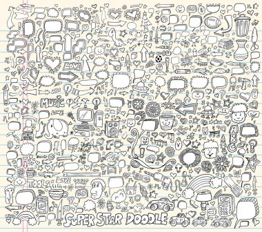 Notebook Doodle Speech Bubble Design Elements Mega art Vector Illustration