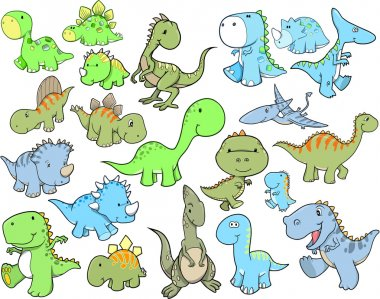 Cute Dinosaur Vector Illustration Design Set