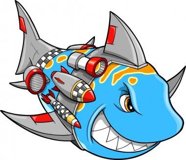 Robot Cyborg Shark Vector Illustration