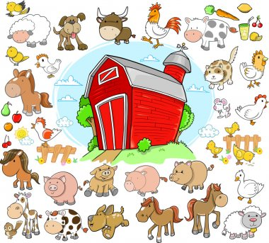 Farm Animals Design Elements Vector Set