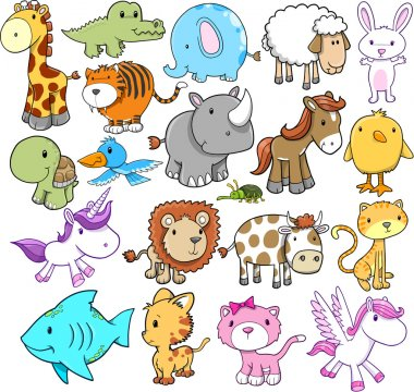Cute Animal Vector illustration Design elements Set stock vector