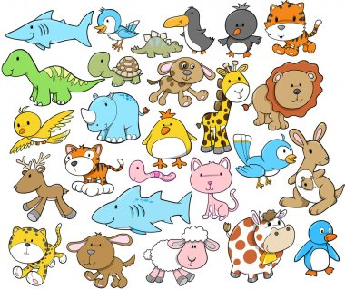 Cute Animal Vector Design Elements Set