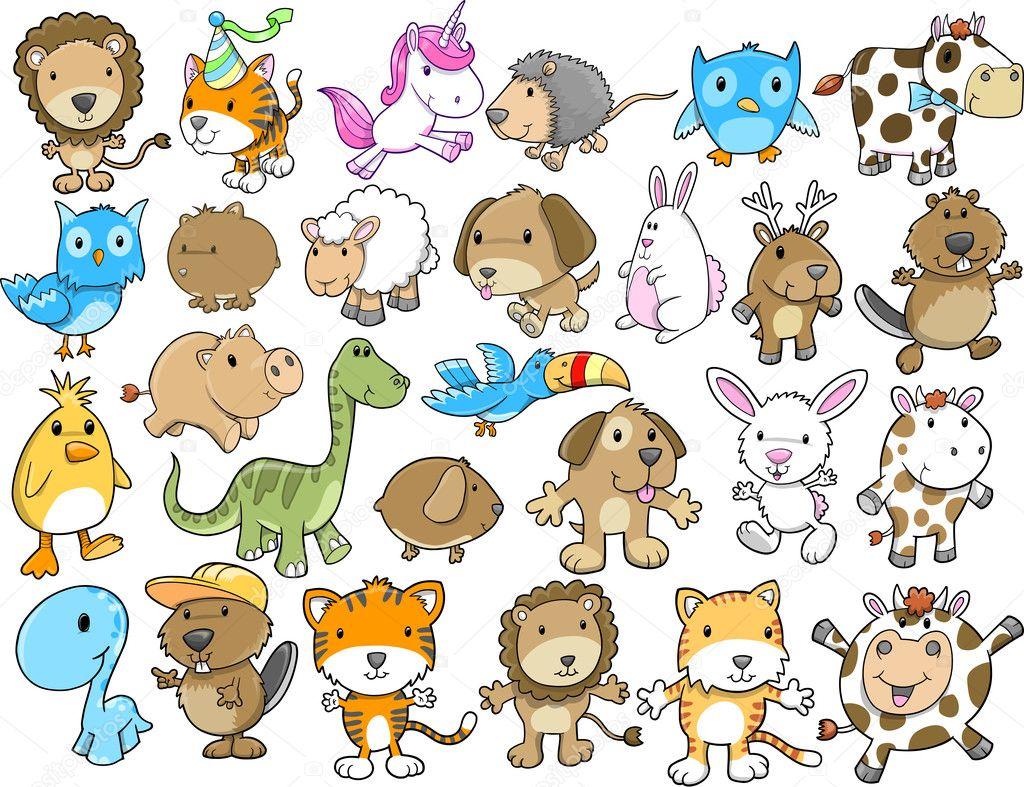 Cute Animal Vector Illustration Design Elements Set