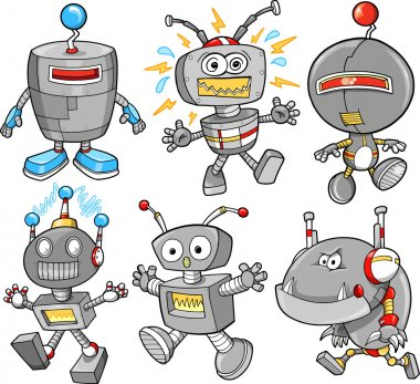 Cute Robot Cyborg Vector Illustration Design Set