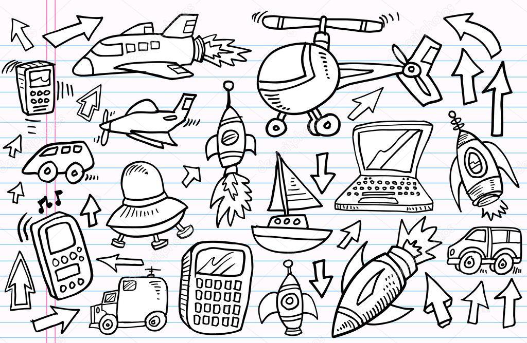 Fabuleux croquis transport et la technologie vector ensemble — Image  TH99