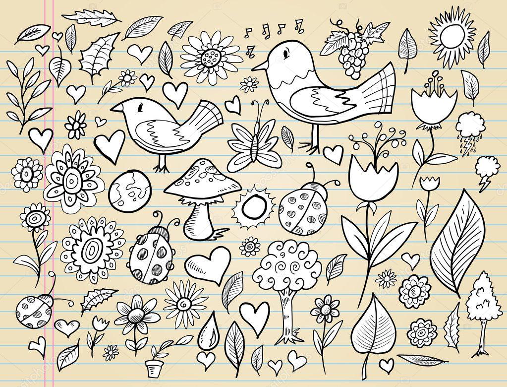 Doodle-Frühling-Zeit-Design-Elemente Vektor-Illustration-Satz ...