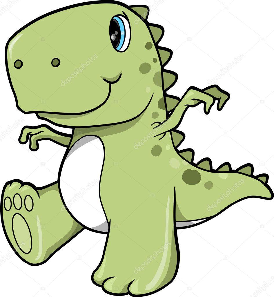 arte lindo verde dinosaurio t-rex vector ilustración — Archivo ...