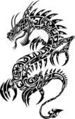 Fotografia illustrazione vettoriale di iconico drago tatuaggio tribale
