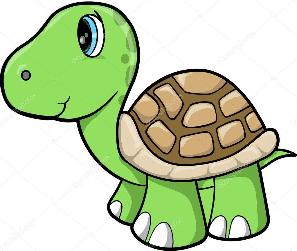 Sevimli Kaplumbağa Hayvan Vektör çizim Stok Vektör