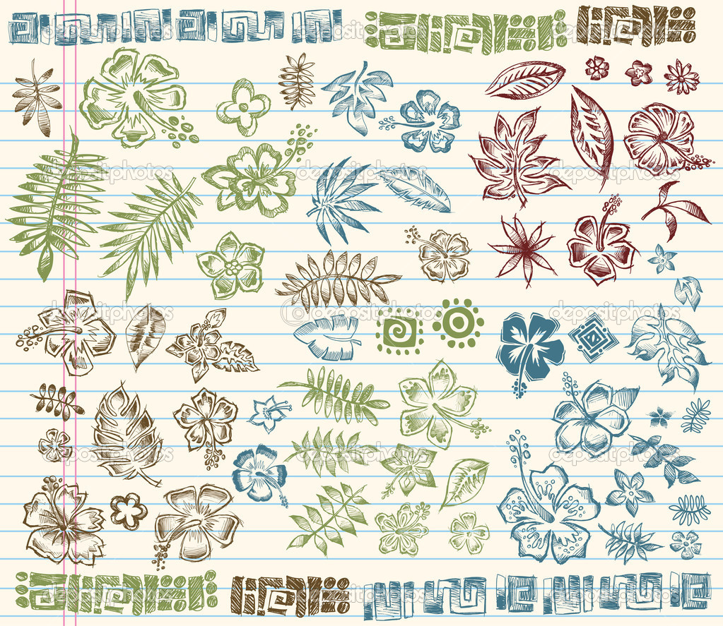 Tropical Summer Sketch Doodle Elements Vector Set