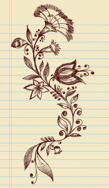 Sketchy Doodle Elegant Flowers and Vines Hand Drawn Vector