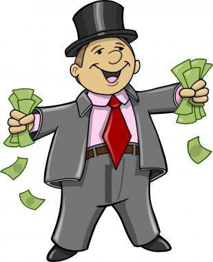 Rich Business Man with money Vector Illustration