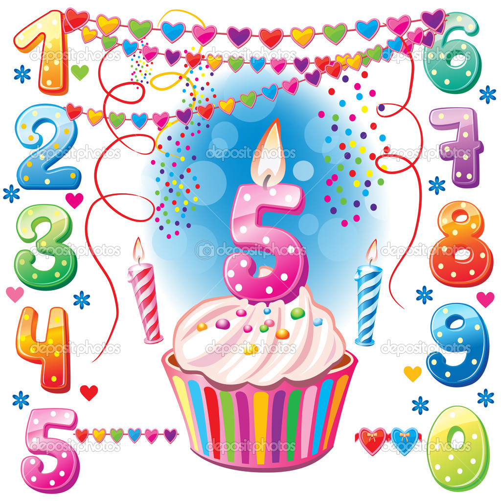 Numbered birthday candles and cake stock vector