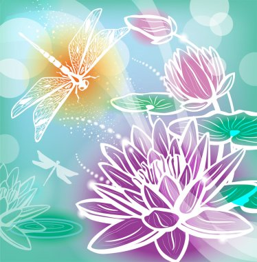 Background with flowers lotus and dragonfly