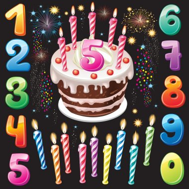 Happy Birthday cake, numbers and firework