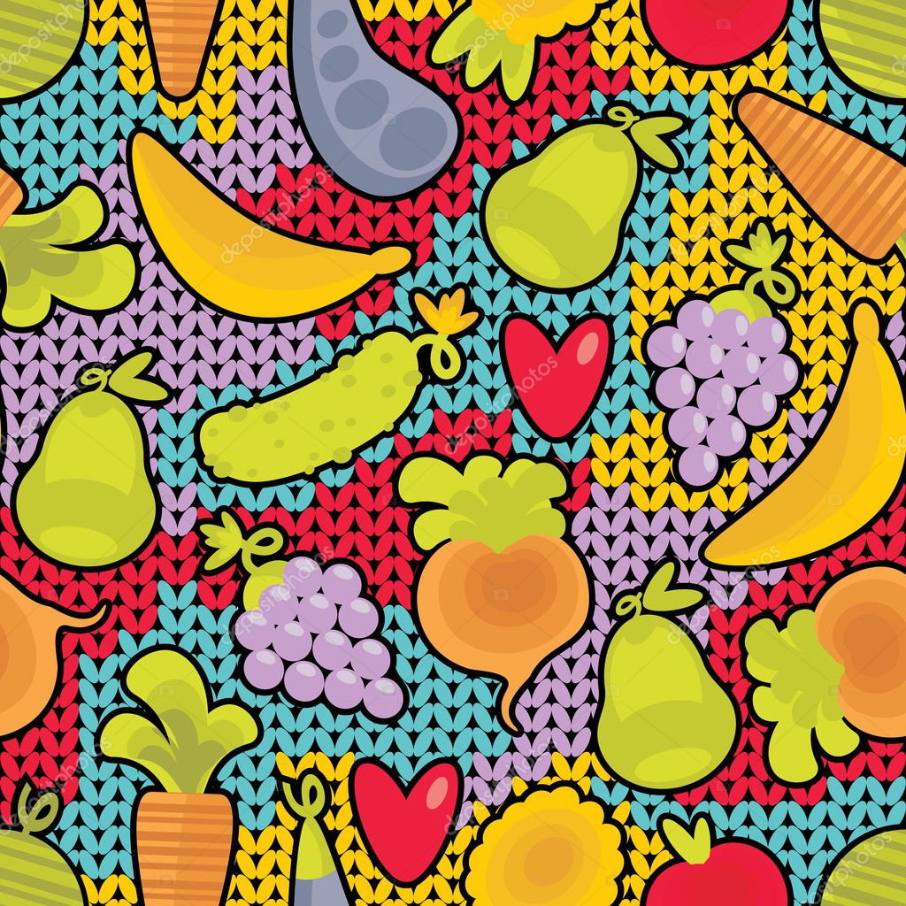Seamless pattern with fruits and vegetables and hearts.