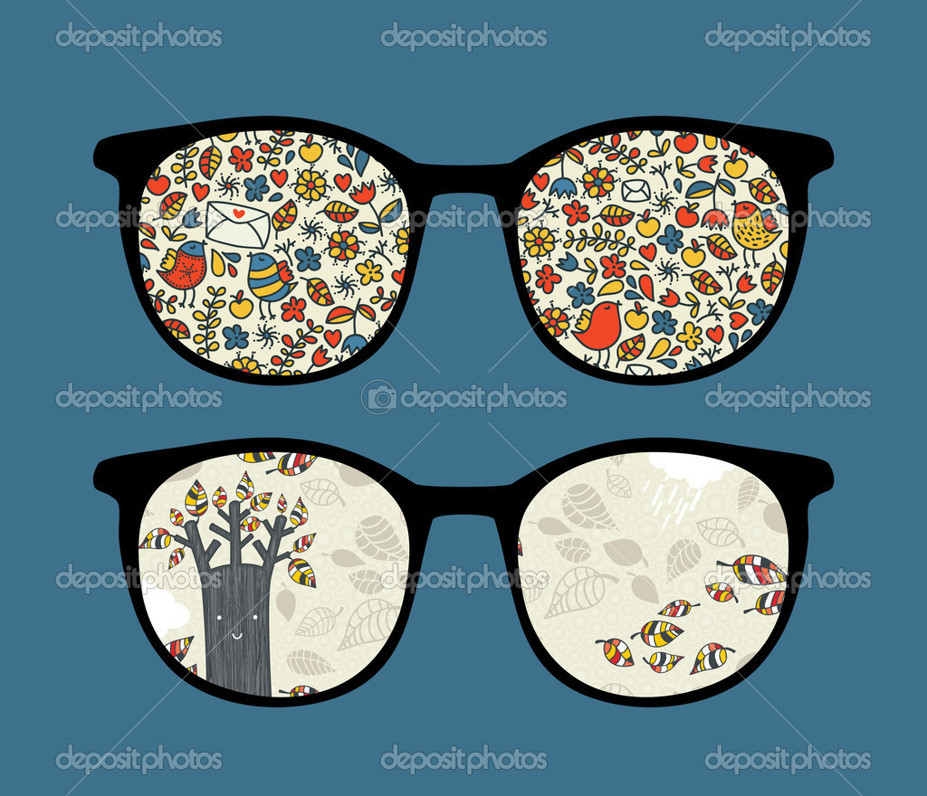 Retro sunglasses with seasons nature reflection in it.