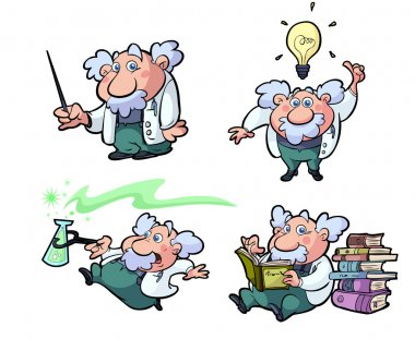 A collection of fun science professors stock vector