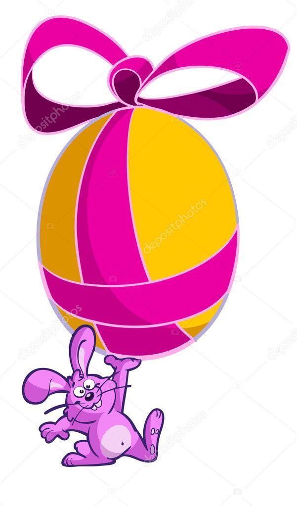 Divertente cartone animato di coniglio con uovo pasqua