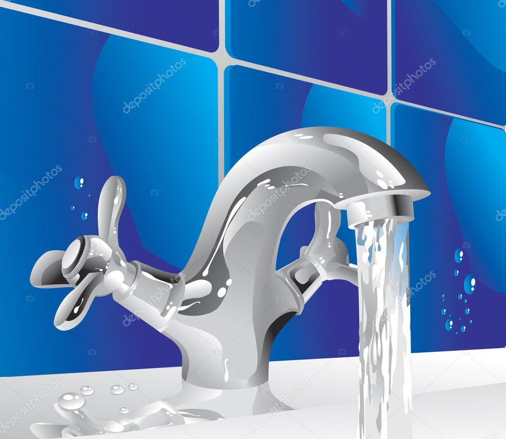 Grifo de agua metal vector de stock alfaolga 9656599 for Grifos de metal