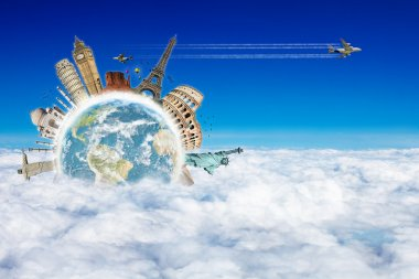 Travel the world clouds plane concept