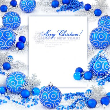 Frame with christmas compositions is with blue balls and space f