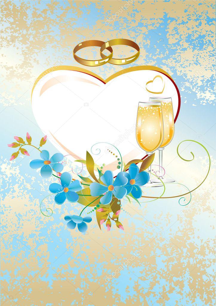 Красивые, свадебные открытки голубые
