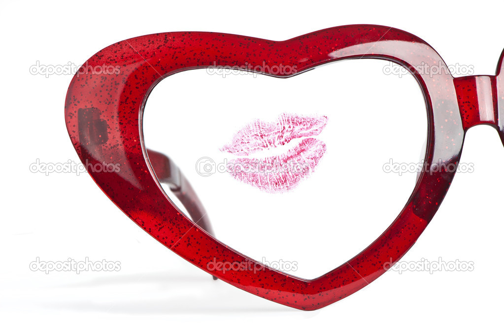 A half red glasses with heart and lips for valentine